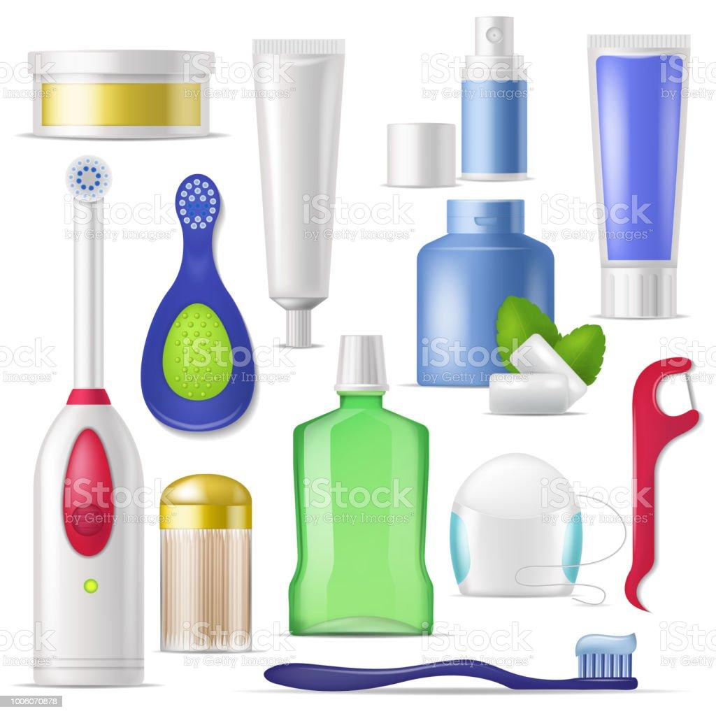 c81618b09 Higiene dental vector escova e pasta de dentes com colutório para limpeza  conjunto de Odontologia de