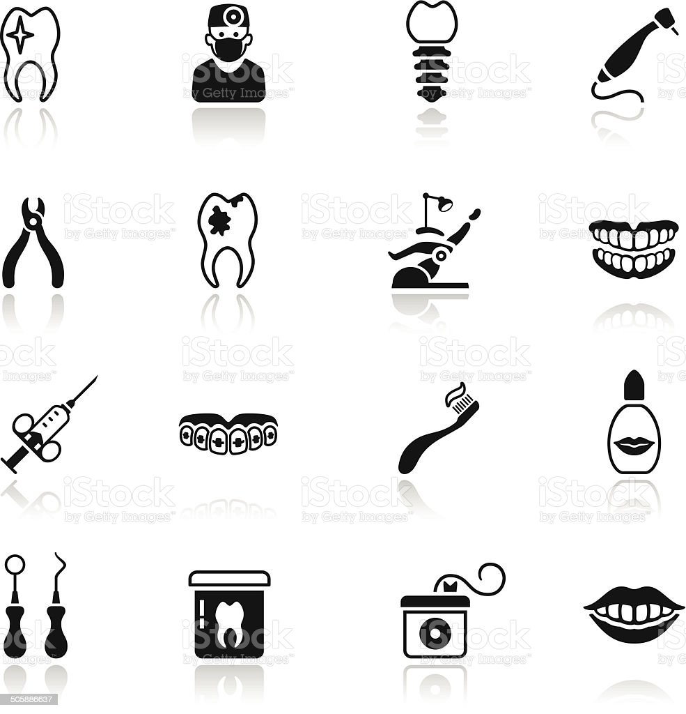 Dental Icon Set vector art illustration