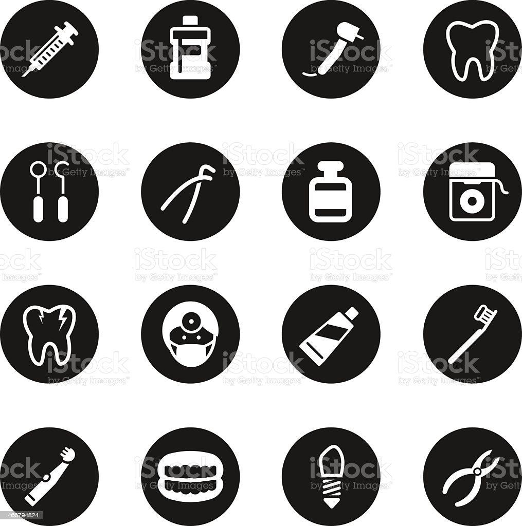 Dental Icons - Black Circle Series vector art illustration