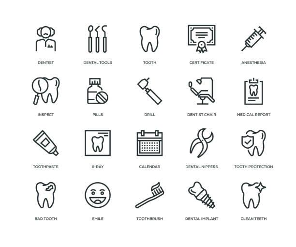 Dental Icons - Line Series Dental Icons - Line Series dental health stock illustrations