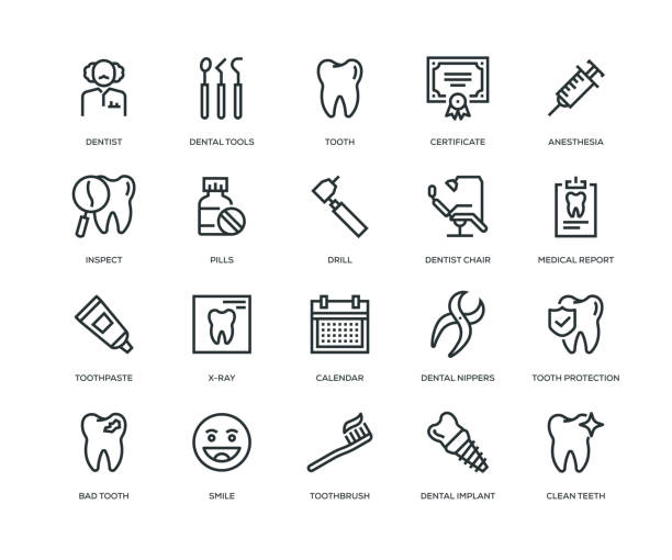 illustrazioni stock, clip art, cartoni animati e icone di tendenza di dental icons - line series - denti