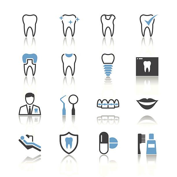 Dental Ikonen-Reflexion-Thema – Vektorgrafik