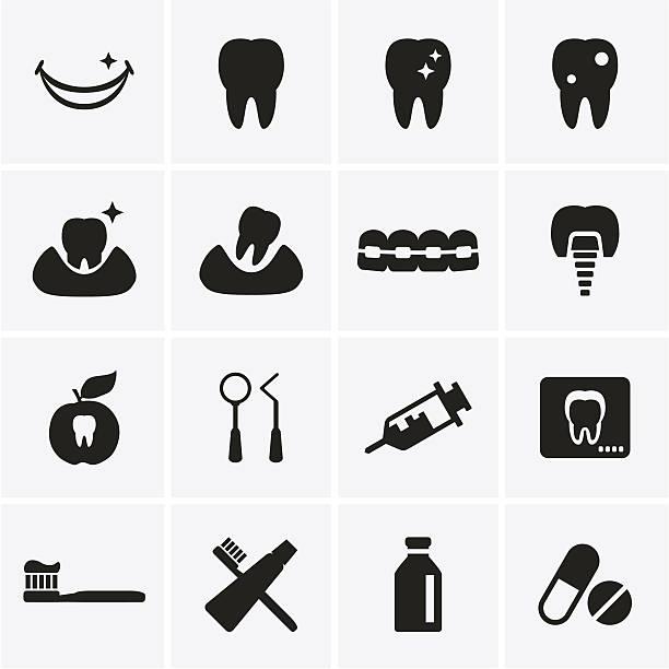 dental symbole - manschetten stock-grafiken, -clipart, -cartoons und -symbole