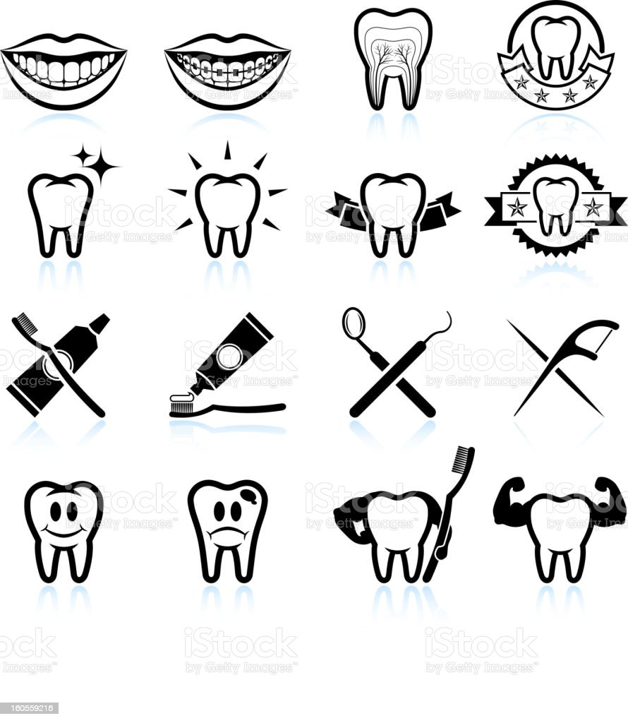 Dental Image Designs black and white vector icon set royalty-free stock vector art