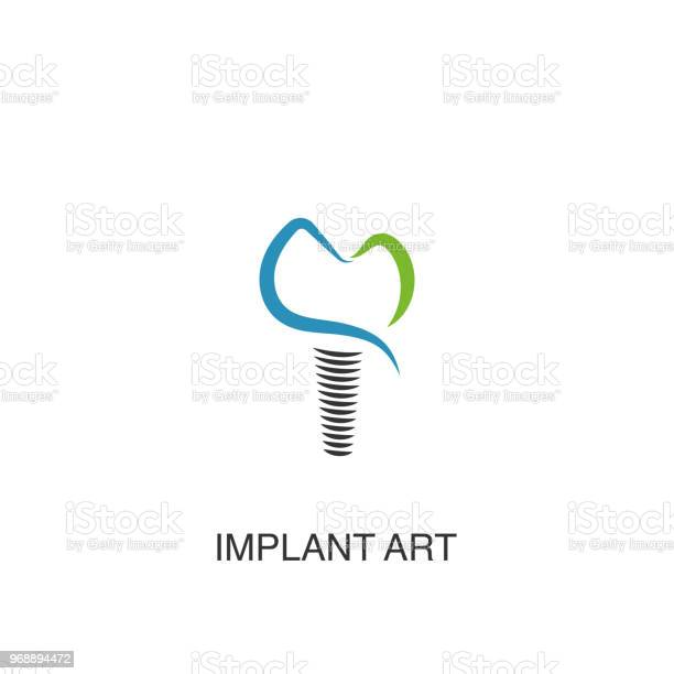 Dental Implant Logo Vector Design Element For Dental Clinic Stock Illustration - Download Image Now