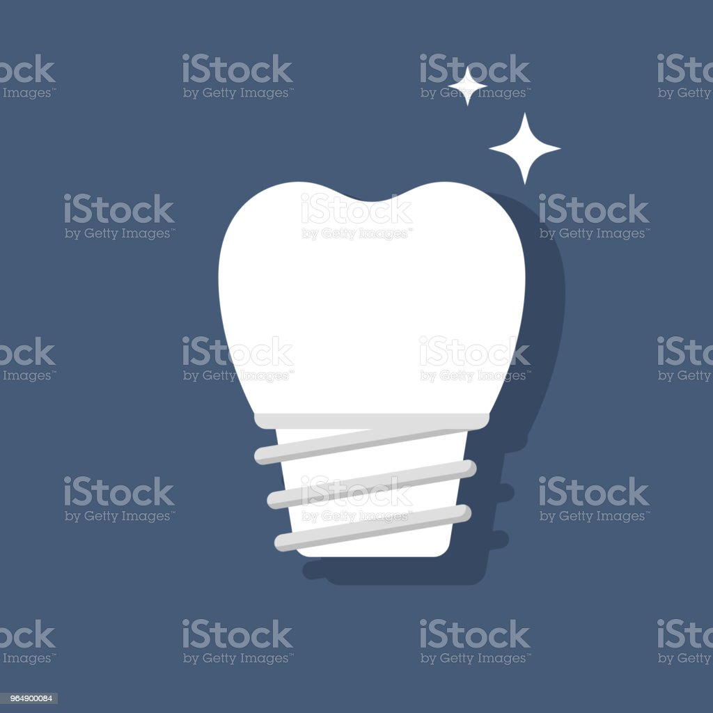 Dental implant. Restoration of teeth. Ceramic or porcelain tooth. Flat vector isolated illustration. royalty-free dental implant restoration of teeth ceramic or porcelain tooth flat vector isolated illustration stock vector art & more images of braces