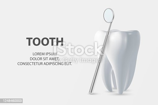 istock Dental Inspection Banner, Plackard. Vector 3d Realistic Dentist Mirror for Teeth with Tooth Icon Closeup on White Background. Medical Dentist Tool. Design Template. Dental Health Concept 1248460003