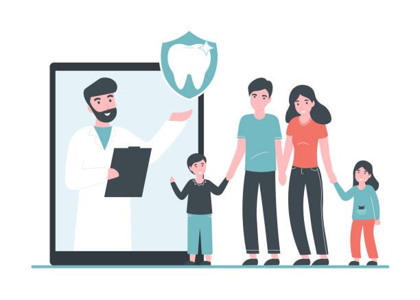 dental insurance concept family vector art illustration