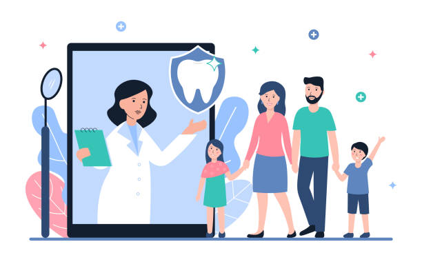 dental insurance concept web banner Dental insurance and healthcare flat vector concept. Doctor dentist woman online and happy healthy family with children. Illustration for web page, banner, poster, template, layout. dentist stock illustrations