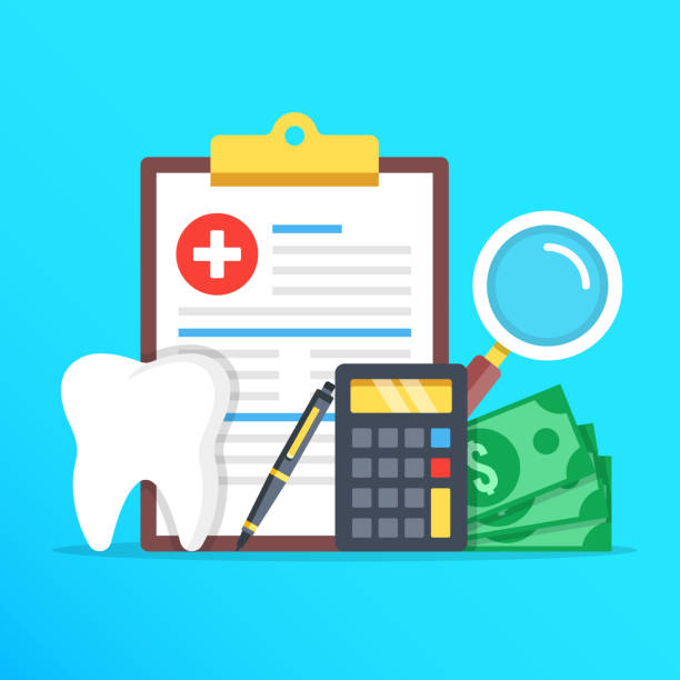 dental insurance, dental care concept. dental insurance form, tooth, calculator, pen, money, magnifier flat design graphic elements set. vector illustration - insurance stock illustrations