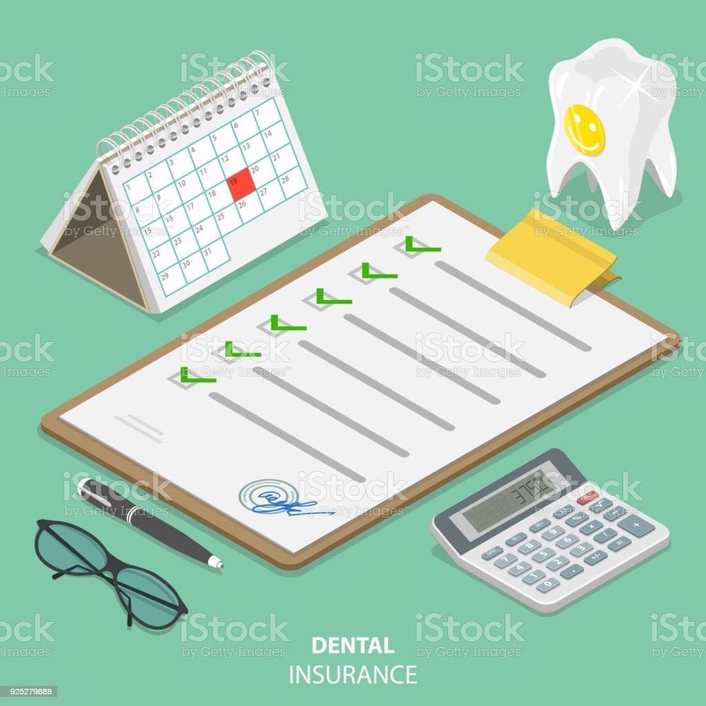 Dental flach isometrische Vektor Versicherungskonzept. – Vektorgrafik