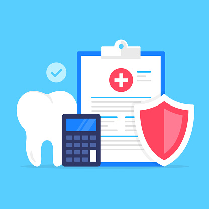 Dental insurance. Vector illustration. Health insurance, healthcare, claim form, coverage, medical care concepts. Modern flat design. Clipboard with medical document, shield, calculator, tooth and check mark