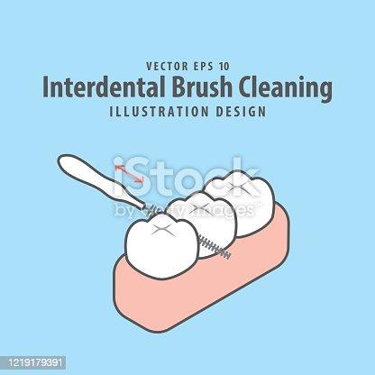 Dental interdental brush cleaning of teeth illustration vector design on blue background. Dental care concept.