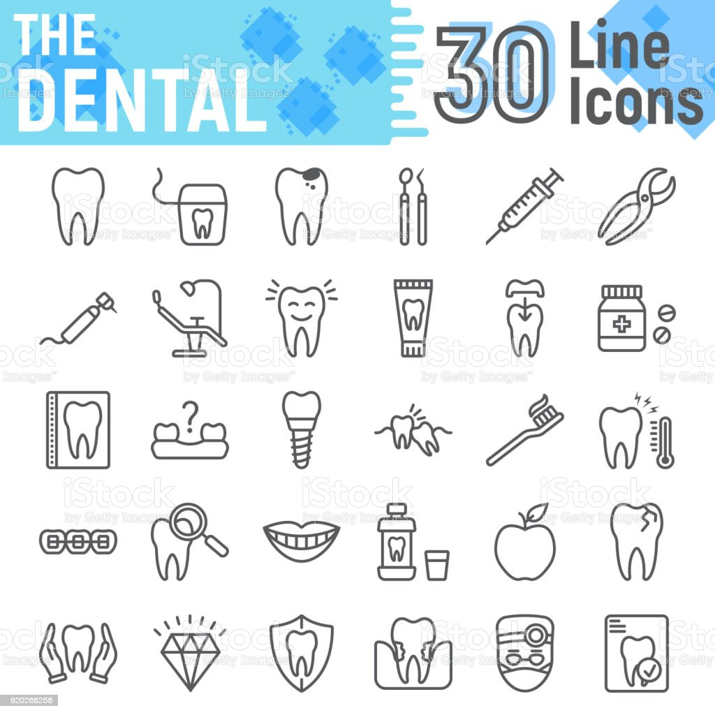 Dental line icon set, Stomatology symbols collection, vector sketches, logo illustrations, Dental clinic signs linear pictograms package isolated on white background, eps 10. vector art illustration