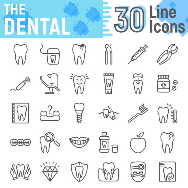 illustrazioni stock, clip art, cartoni animati e icone di tendenza di dental line icon set, stomatology symbols collection, vector sketches, logo illustrations, dental clinic signs linear pictograms package isolated on white background, eps 10. - denti