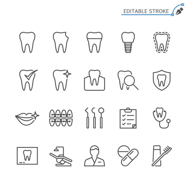 dental line icons. editable stroke. pixel perfect. - dentist stock illustrations