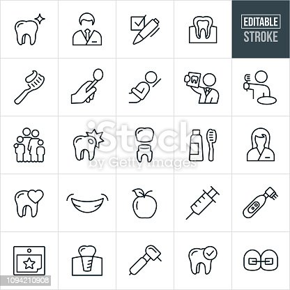 A set of dental icons in outline format. The EPS vector file provided editable strokes or outlines. The icons include dentists, dental assistant, female, male, tooth, check-up, dental exam, dental chair, x-ray, toothbrush, family, cavity, tooth crown, smile, syringe, electric toothbrush, calendar, appointment, dental implant, dental tools and braces to name a few.
