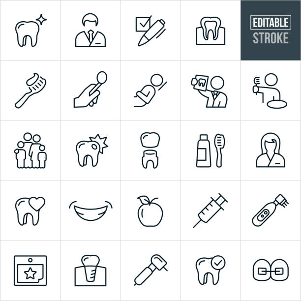 dental line icons - editable stroke - dentist stock illustrations