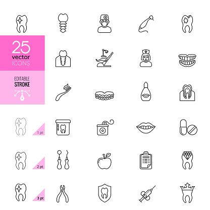 Dental Line Icons. Editable Stroke.