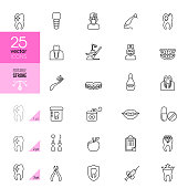 Collection of dentistry thin line icons. Editable Stroke.