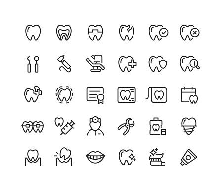 Dental Line Icons Editable Stroke