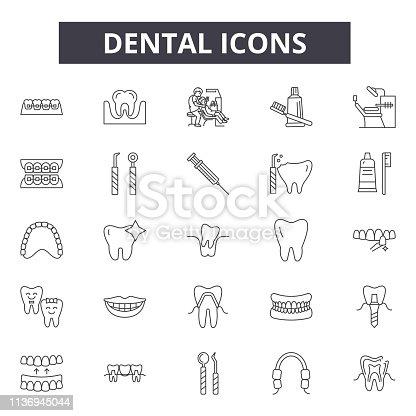 Dental line icons for web and mobile. Editable stroke signs. Dental  outline concept illustrations