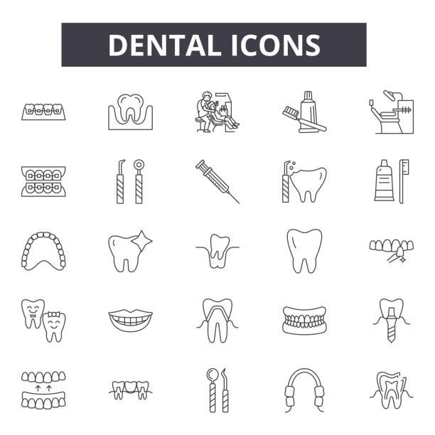 bildbanksillustrationer, clip art samt tecknat material och ikoner med dental linje ikoner för webb och mobil design. redigerbara slag skyltar. dental disposition koncept illustrationer - molar