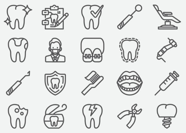illustrazioni stock, clip art, cartoni animati e icone di tendenza di dental line icons - denti