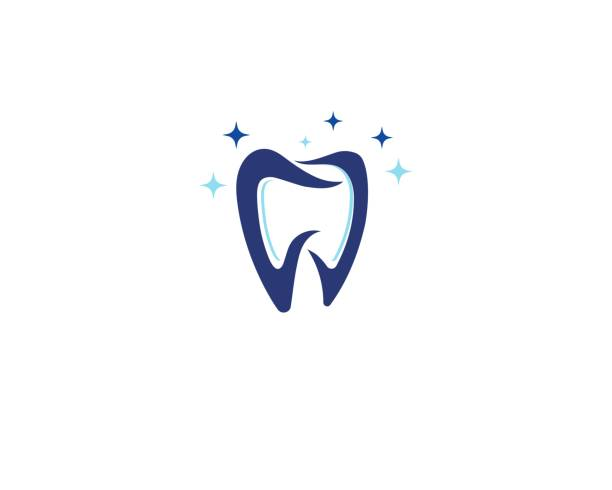 zahnarztlogo und symbolgesundheit - zahnarzt logos stock-grafiken, -clipart, -cartoons und -symbole