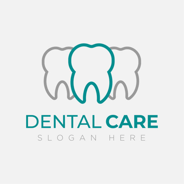 dental logo design template. creative sign. dental clinic logo tooth abstract design vector template linear style. dentist stomatology medical doctor logotype concept icon. - dentist logos stock illustrations