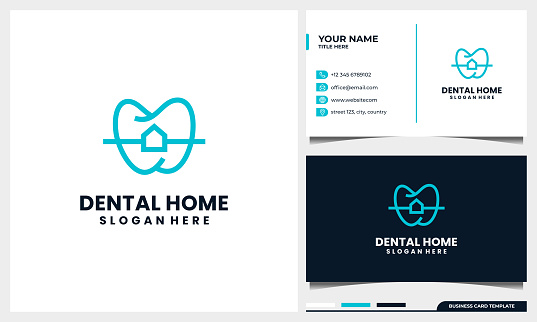 Dental logo design with Line Art style and home or house concept with business card template