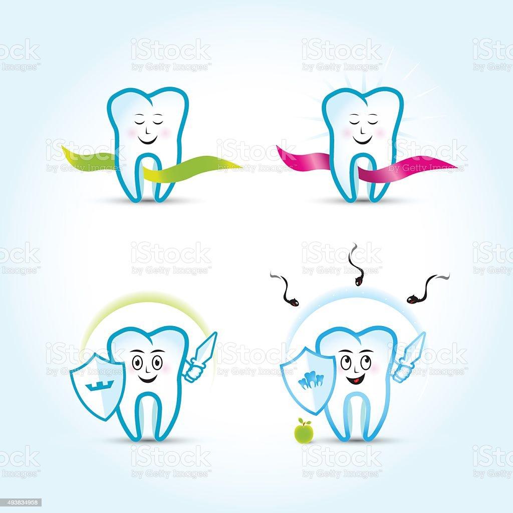 dental logo templates set family dental tooth cartoon characters
