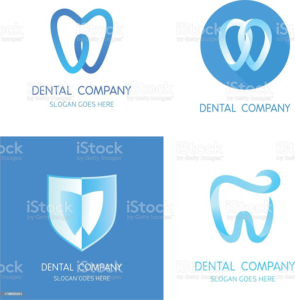 Dental logos templates. Abstract vector teeth signs. vector art illustration