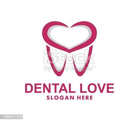 Dental Love design template. vector icon