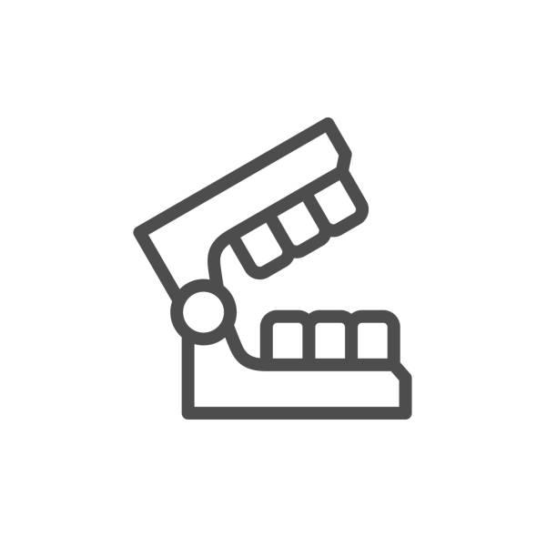 Dental mold line icon Dental mold line icon isolated on white. Vector illustration human jaw bone stock illustrations