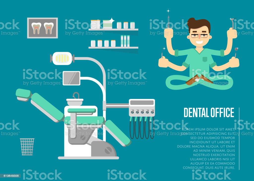 Dental office banner with male dentist vector art illustration