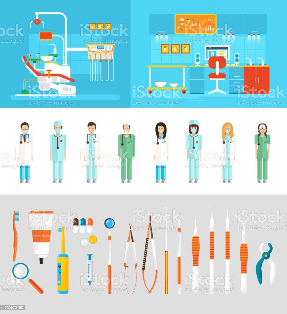 Dental office dentists vector art illustration