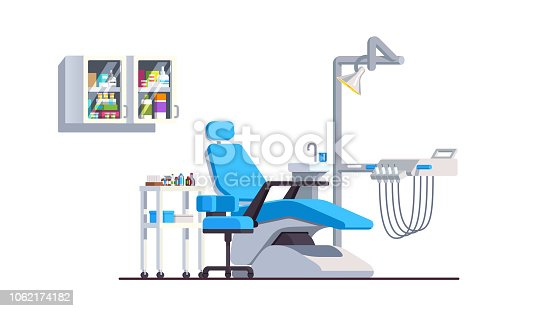 istock Dental office interior with reclining chair drill hand pieces and lamp. Modern dentistry equipment. Stomatology clinic. Flat style isolated vector 1062174182