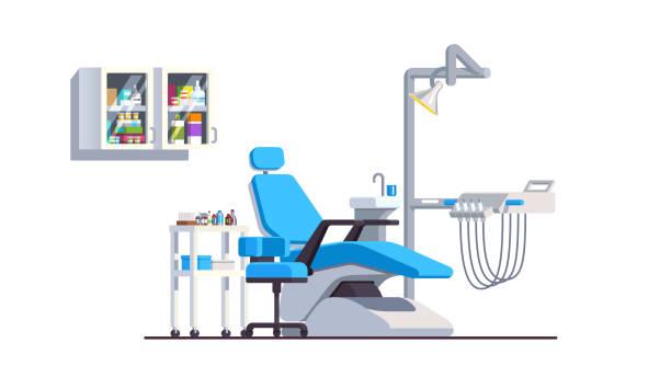 リクライニング椅子ドリル ハンドピースとランプと歯科医院インテリア。近代的な歯科医療機器。口腔病学の診療所。フラット スタイルの分離ベクトル - 歯科点のイラスト素材/クリップアート素材/マンガ素材/アイコン素材