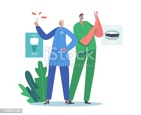 istock Dental Office Staff at Work. Stomatology Doctors, Dentistry Concept. Dentists with Equipment for Tooth Caries Treatment 1345947061
