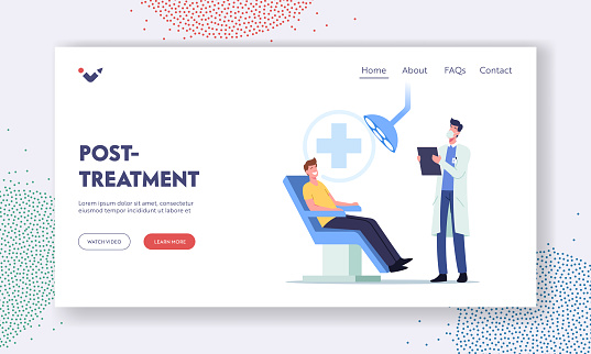Dental Post Treatment Landing Page Template. Man Patient Sit in Chair in Stomatologist Cabinet. Doctor Conduct Check Up