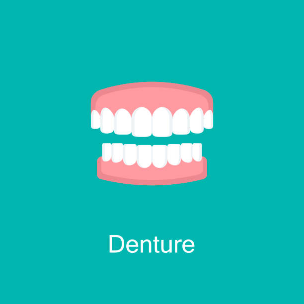 Dental prosthesis, tooth orthopedics sign. vector art illustration