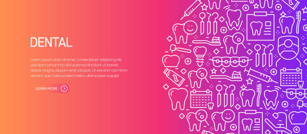 Dental Related Banner Template with Line Icons. Modern vector illustration for Advertisement, Header, Website. Dental Related Banner Template with Line Icons. Modern vector illustration for Advertisement, Header, Website. dentist stock illustrations