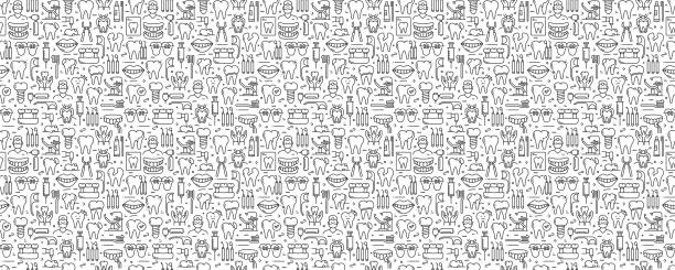 Dental Related Seamless Pattern and Background with Line Icons Dental Related Seamless Pattern and Background with Line Icons dentist stock illustrations