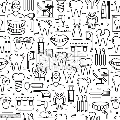 istock Dental Related Seamless Pattern and Background with Line Icons 1206225254