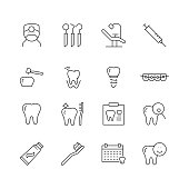Dental Related - Set of Thin Line Vector Icons