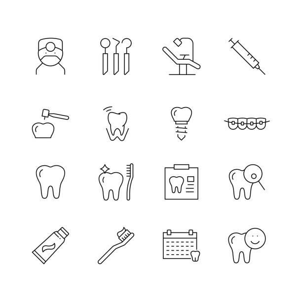 bildbanksillustrationer, clip art samt tecknat material och ikoner med dental besläktade-uppsättning av tunn linje vektor ikoner - molar