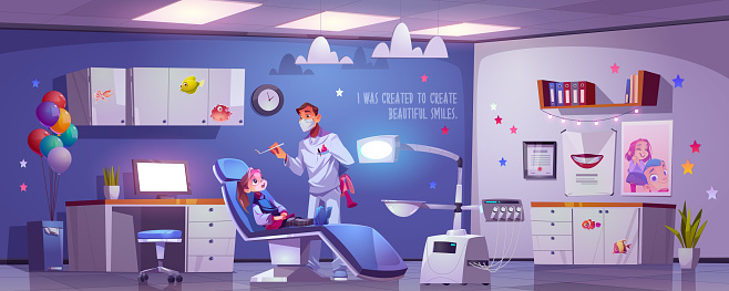 Dental room for kids with girl in chair and doctor