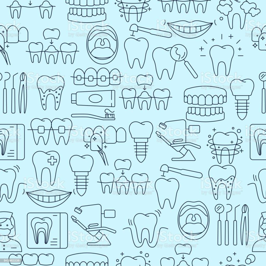 概要アイコンの歯科のシームレス パターン ベクターアートイラスト