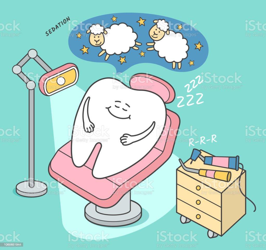 Dental sedation illustration. Cartoon tooth falls asleep in a dental chair.
